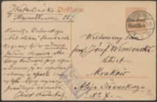 [Kartka pocztowa Józefa Kotarbińskiego do Józefa Wiśniowskiego, 31.12.1916]