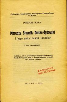 Pierwszy słownik polsko-żydowski i jego autor Lewin Liond'or