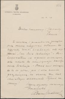 [List Adama Siedleckiego do Józefa Wiśniowskiego, 10.10.1910]