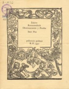Żaków Rzeszowskich Obwieszczenie y Prośba