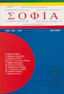 ΣΟΦΙΑ. Pismo Filozofów Krajów Słowiańskich 2006, nr 6