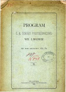 Program C. K. Szkoły Politechnicznej we Lwowie na rok naukowy 1881-82
