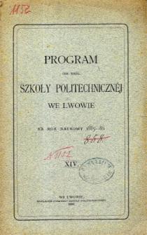 Program C. K. Politechnicznej we Lwowie na rok naukowy 1885-86