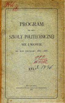 Program C. K. Szkoły Politechnicznej we Lwowie na rok naukowy 1887-1888