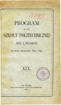 Program C. K. Szkoły Politechnicznej we Lwowie na rok naukowy 1890-1891