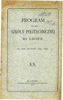 Program C. K. Szkoły Politechnicznej we Lwowie na rok naukowy 1891-1892