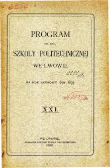Program C. K. Szkoły Politechnicznej we Lwowie na rok naukowy 1892-1893