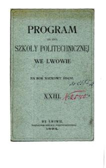 Program C. K. Szkoły Politechnicznej we Lwowie na rok naukowy 1894/95