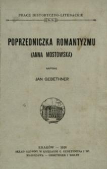 Poprzedniczka romantyzmu (Anna Mostowska)