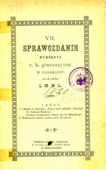 Sprawozdanie Dyrekcyi C. K. Gimnazyum w Jarosławiu za rok szkolny 1891