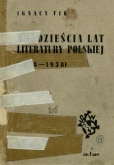 """20 lat literatury polskiej (1918-1938) : cz. 2 """"Rodowodu społecznego literatury polskiej"""""""