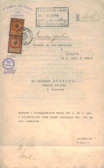 Świetny ck. Sąd powiatowy w Tyczynie do L. czyn. E 1486/8