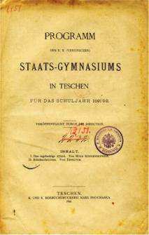 Programm des K. K. Vereinigten Staats-Gymnasiums in Teschen fur das Schuljahr 1891/92