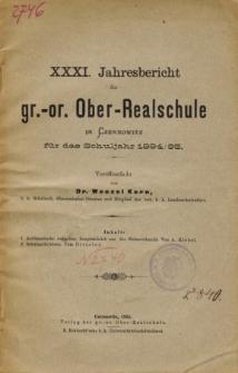 Jahresbericht der Gr.-Or. Ober-Realschule in Czernowitz am Schlusse des Schuljahres 1894/95