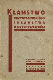 Kłamstwo Przybyszewskiego i kłamstwa o Przybyszewskim : z powodu artykułu Boya-Żeleńskiego