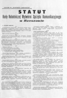 Statut Rady Robotniczej Wytwórni Sprzętu Komunikacyjnego w Rzeszowie
