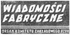 Wiadomości Fabryczne : organ Komitetu Zakładowego Polskiej Zjednoczonej Partii Robotniczej. 1958, R. 7, nr 20 (15-31 października)