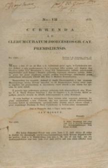 Currenda Ad Clerum Curatum Dioeceseos Gr. Cat. Premisliensis. Nro VII