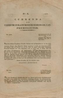 Currenda Ad Clerum Curatum Dioeceseos Gr. Cat. Premisliensis. Nro X