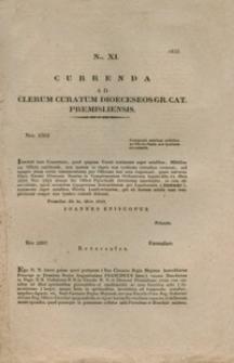 Currenda Ad Clerum Curatum Dioeceseos Gr. Cat. Premisliensis. Nro XI