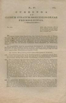Currenda Ad Clerum Curatum Dioeceseos Gr. Cat. Premisliensis. Nro IV