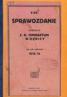 Sprawozdanie Dyrekcyi C. K. Gimnazyum w Dębicy za rok szkolny 1913/14