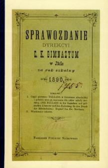 Sprawozdanie Dyrekcyi C. K. Gimnazyum w Jaśle za rok 1890