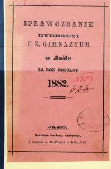Sprawozdanie Dyrekcyi C. K. Gimnazyum w Jaśle za rok 1892