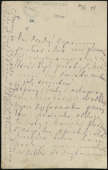 [List Marii Konopnickiej do Zofii i Bolesława Królikowskich, 24.11.1895]