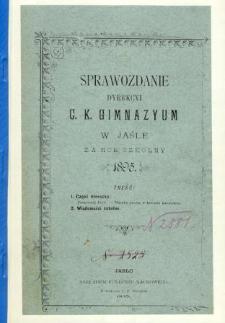 Sprawozdanie Dyrekcyi C. K. Gimnazyum w Jaśle za rok 1895