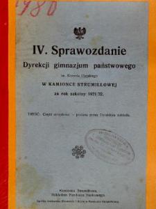 Sprawozdanie Dyrekcji Gimnazjum Państwowego im. Kornela Ujejskiego w Kamionce Strumiłłowej za rok szkolny 1921/22