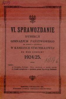 Sprawozdanie Dyrekcji Gimnazjum Państwowego im. Kornela Ujejskiego w Kamionce Strumiłłowej za rok szkolny 1924/25
