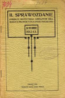 Sprawozdanie Dyrekcyi Prywatnego Gimnazyum Miejskiego z prawem publiczności w Kałuszu za rok szkolny 1912/13
