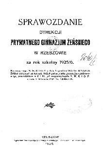 Sprawozdanie Dyrekcji Prywatnego Gimnazjum Żeńskiego w Rzeszowie za rok szkolny 1925/26