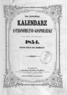 Jana Jaworskiego Kalendarz Astronomiczno-Gospodarski na Rok zwyczajny 1854, R. 17