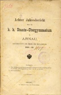 Jahresbericht uber das K. K. Staats-Obergymnasium in Arnau veroffentlicht am Ende des Schuljahres 1888-89