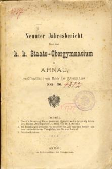 Jahresbericht uber das K. K. Staats-Obergymnasium in Arnau veroffentlicht am Ende des Schuljahres 1889-90
