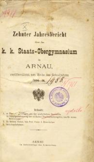 Jahresbericht uber das K. K. Staats-Obergymnasium in Arnau veroffentlicht am Ende des Schuljahres 1890-91
