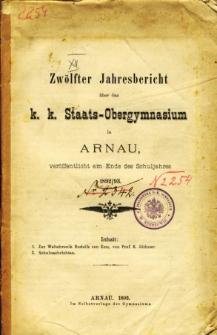Jahresbericht uber das K. K. Staats-Obergymnasium in Arnau veroffentlicht am Ende des Schuljahres 1892/93
