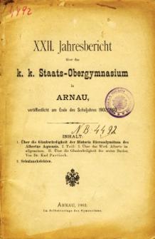 Jahresbericht uber das K. K. Staats-Obergymnasium in Arnau veroffentlicht am Ende des Schuljahres 1902/1903