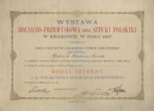 [Dyplom nadania srebrnego medalu C. K. Towarzystwa Rolniczego Krakowskiego dla Alfreda Potockiego]
