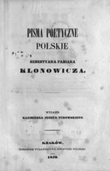 Pisma poetyczne polskie Sebastyana Fabiana Klonowicza