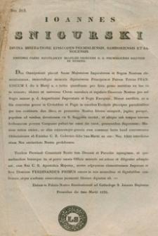 Ioannes Snigurski : Divina Miseratione Episcopus Premisliensis, Samboriensis et Sanocensis