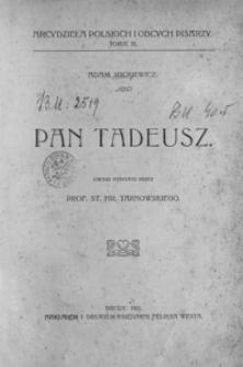 """Adam Mickiewicz: """"Pan Tadeusz"""""""