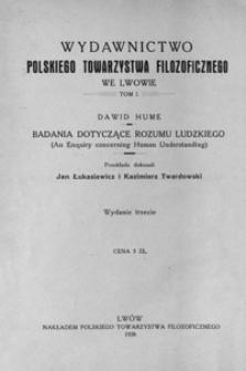 Badania dotyczące rozumu ludzkiego = (An enquiry concerning human understanding)