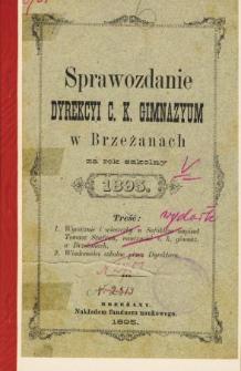 Sprawozdanie Dyrekcyi C. K. Gimnazyum w Brzeżanach za rok szkolny 1895