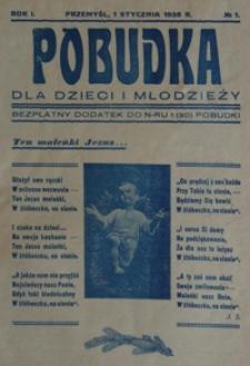 Pobudka dla Dzieci i Młodzieży : bezpłatny dodatek do n-ru 1 (30) Pobudki. 1938, R. 1, nr 1 (styczeń)