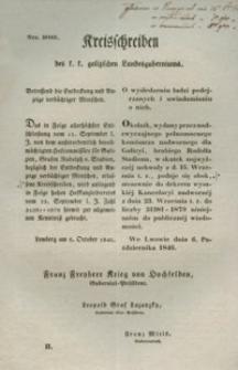 Kreisschreiben des k. k. galizischen Landesguberniums : o wyśledzeniu ludzi podejrzanych i uwiadamianiu o nich