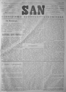 San : czasopismo społeczno-ekonomiczne. 1879, nr 40-43 (październik)