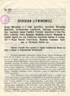 Universo venerabili Clero saeculari et regulari Archidioecesis Nostrae salutem in Domino et Archipastoralem Benedictionem!